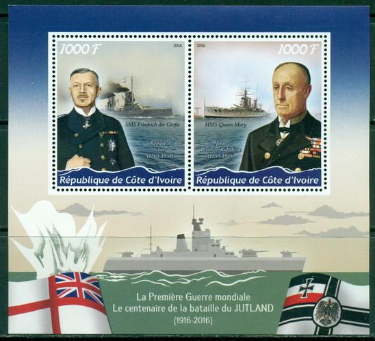 Ivory Coast 2016 Miniature Sheet Jutland Sea Battle 2 Values