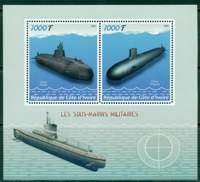 Ivory Coast 2016 miniature sheet submarines 2 values