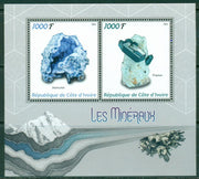 Ivory Coast 2016 miniature sheet Minerals 2 values