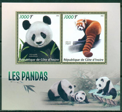 Ivory Coast 2016 miniature sheet Pandas 2 values