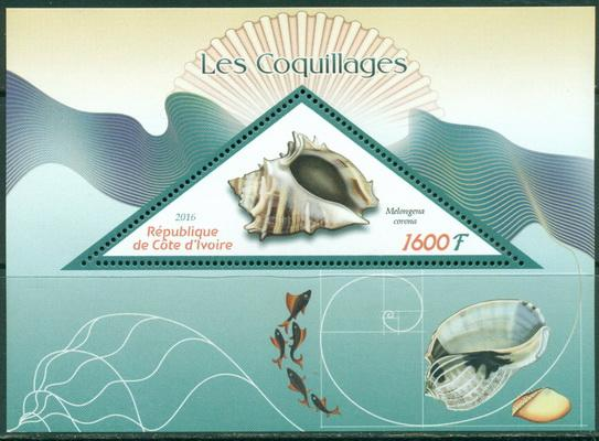 Ivory Coast 2016 souvenir sheet Shells