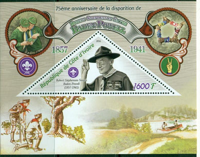 Ivory Coast 2016 souvenir sheet 75th death anniversary baden-powell