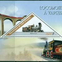 Ivory Coast 2016 souvenir sheet steam locomotives