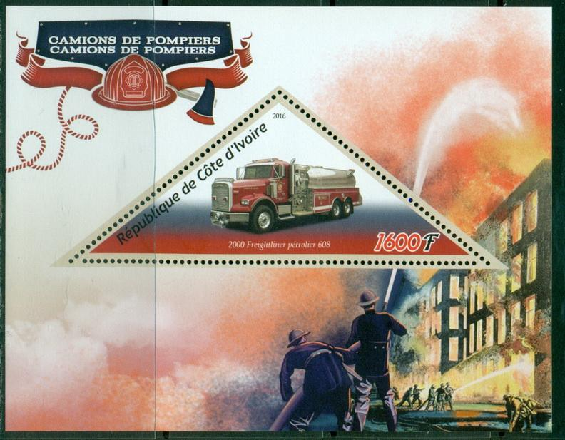 Ivory Coast 2016 souvenir sheet Fire Trucks