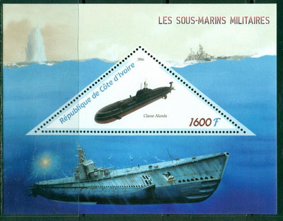 Ivory Coast 2016 souvenir sheet submarines