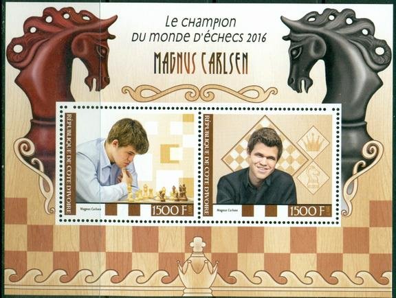 Ivory Coast 2017 miniature sheet Magnus Carlsen Chess World Champion 2016 2 values
