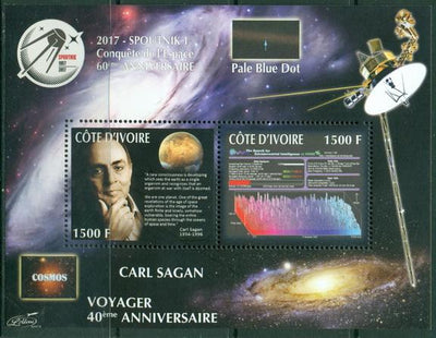 Ivory Coast 2017 miniature sheet Carl Sagan 2 values