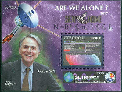 Ivory Coast 2017 souvenir sheet #1 Carl Sagan