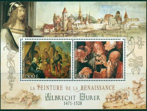 Ivory Coast 2017 miniature sheet Renaissance painters Albrecht Durer 2 values