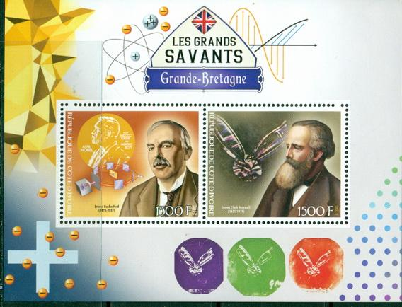 Ivory Coast 2017 miniature sheet Great Britain Scientists 2 values