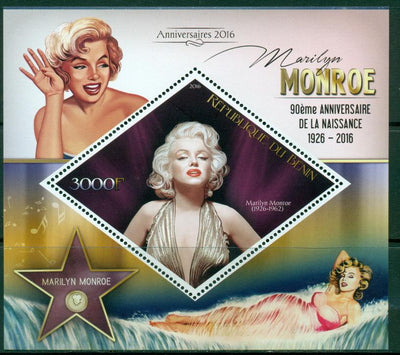 Benin 2016 souvenir sheet 90th birth anniversary Marilyn Monroe
