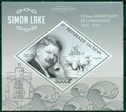 Benin 2016 souvenir sheet 150th birth anniversary Simon Lake