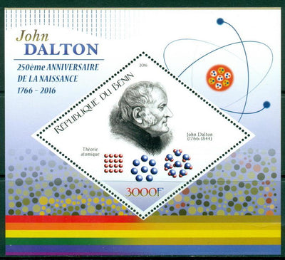 Benin 2016 souvenir sheet 250th birth anniversary John Dalton