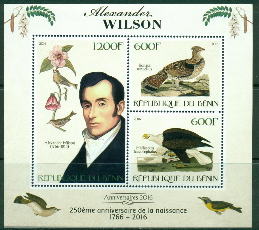 Benin 2016 miniature sheet 250th birth anniversary Alexander Wilson 3 values