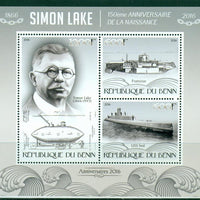 Benin 2016 miniature sheet 150th birth anniversary Simon Lake 3 values