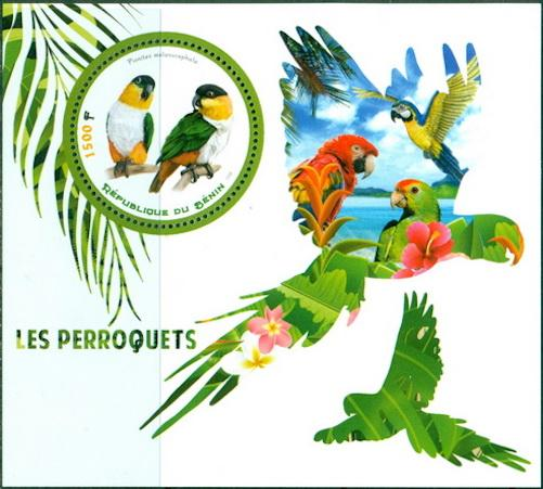 Benin 2018 Souvenir Sheet Parrots #4 Black-Headed