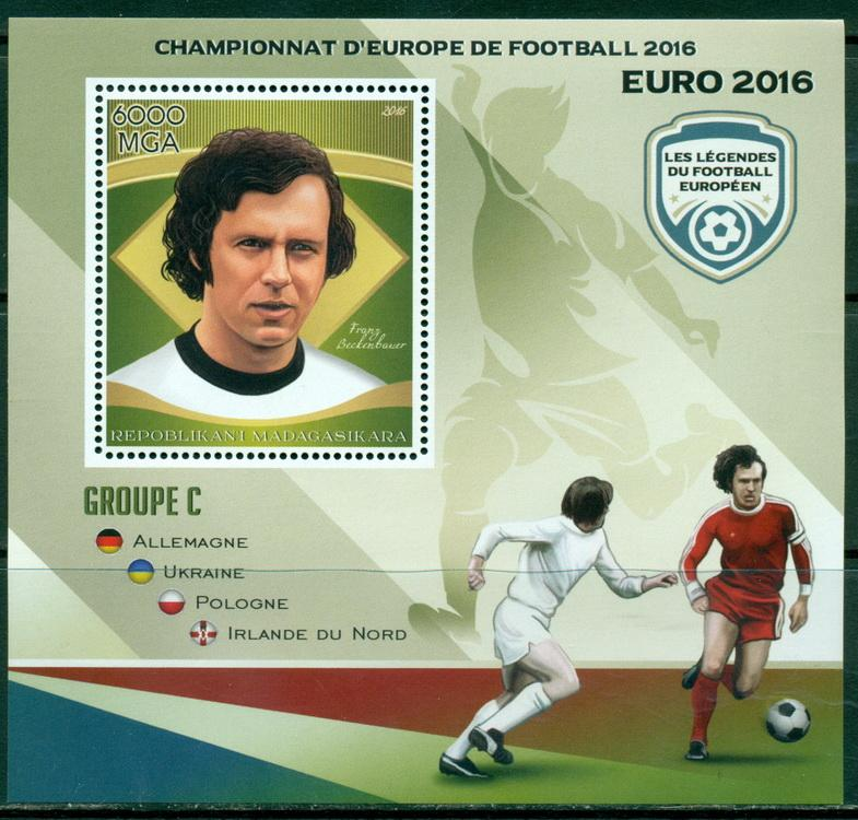 Madagascar 2016 European Football 2016 Legends Franz Beckenbauer Souvenir Sheet
