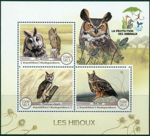 Madagascar 2017 Owls Miniature Sheet
