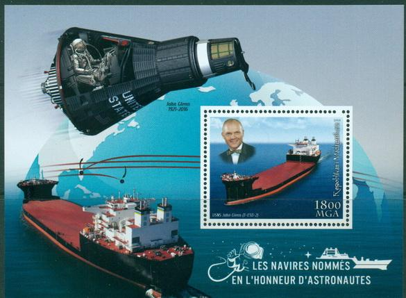 Madagascar 2018 Ships Named After Astronauts Usns John Glenn Souvenir Sheet