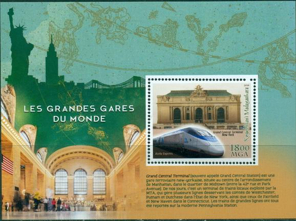 Madagascar 2018 Great Railway Stations Of The World New York Souvenir Sheet