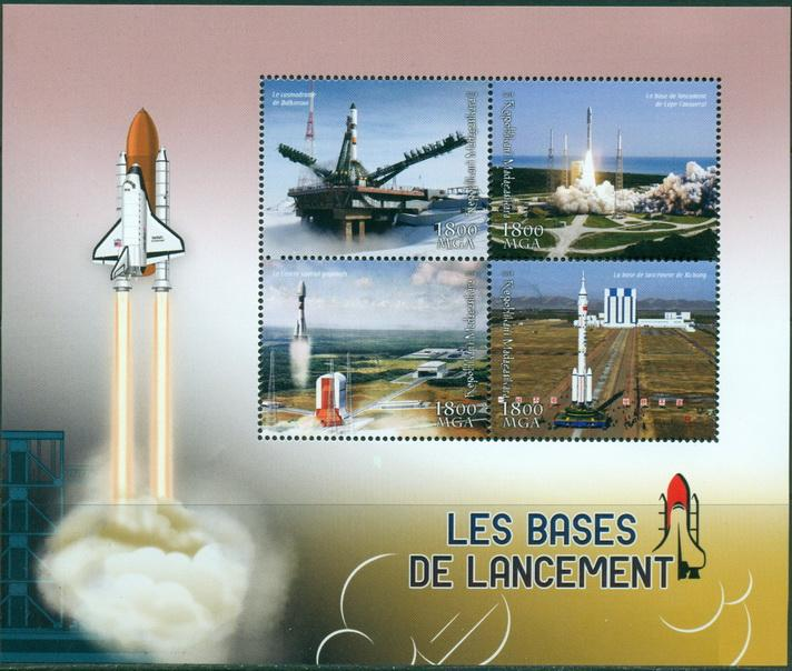 MADAGASCAR 2018 Rocket Launching Bases miniature sheet