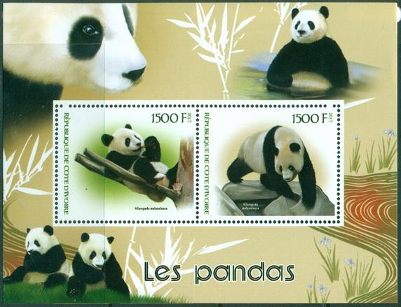 Ivory Coast 2018 miniature sheet Pandas 2 values