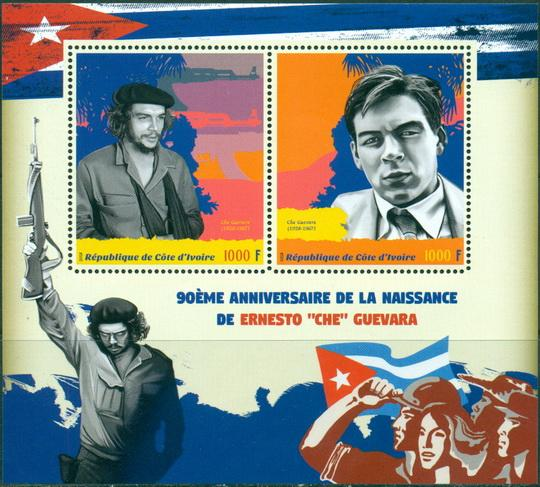 Ivory Coast 2018 miniature sheet 90th Anniversary birth Che Guevara 2 values