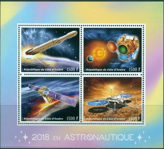 Ivory Coast 2018 miniature sheet Astronautics