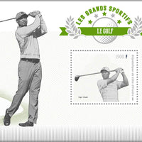 Ivory Coast 2018 souvenir sheet Golf Tiger Woods