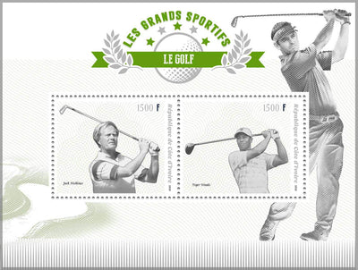 Ivory Coast 2018 miniature sheet Golf Tiger Woods and Jack Nicklaus