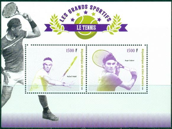 Ivory Coast 2018 miniature sheet Tennis Rafael Nadal and Roger Federer
