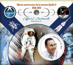Mali 2019 50th anniversary Apollo 11 moon landing Clifford Charlesworth souvenir sheet