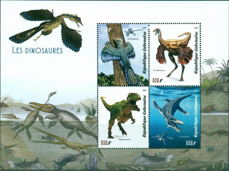 Gabon 2019 Dinosaurs MS 4 values