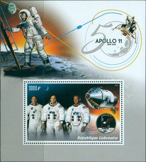 Gabon 2019 Apollo 11 50th anniversary Souvenir sheet