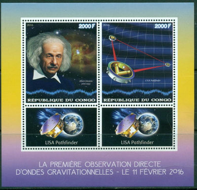 Congo 2016 1st observation direct gravitational waves miniature sheet 2 values