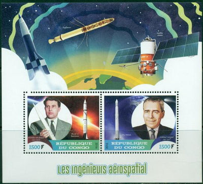 Congo 2016 Aerospace engineers miniature sheet 2 values #1