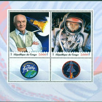 Congo 2018 oldest astronauts John Glenn miniature sheet 2 values