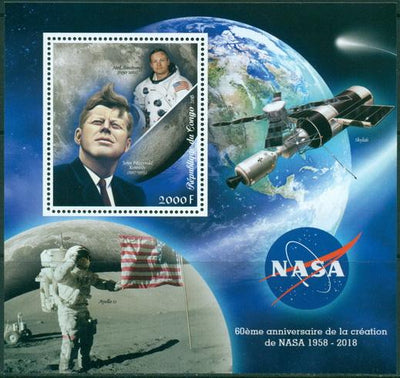 Congo 2018 60th anniversary NASA souvenir sheet #2