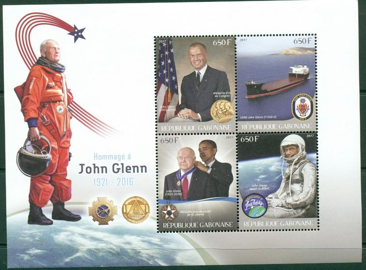 Gabon 2017 John Glenn miniature sheet 4 values