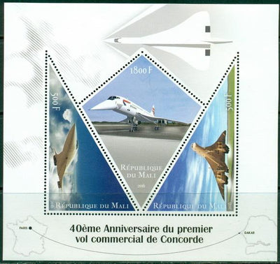 Mali 2016 miniature sheet 40th anniversary first commercial flight Concorde #1 3 values
