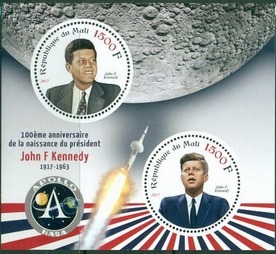 Mali 2017 miniature sheet 100th Anniversary birth John Fitzgerald Kennedy 2 values