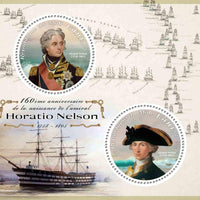 Mali 2018 miniature sheet 160th birth anniversary Admiral Horatio Nelson 2 values