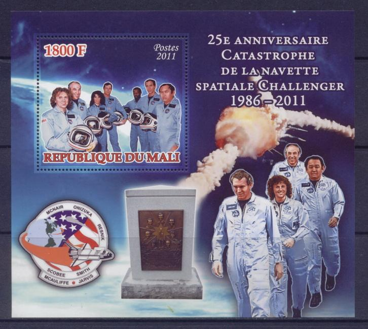 Mali 2011 Souvenir Sheet 25Th Anniversary Space Shuttle Challenger Disaster