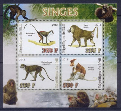 Mali 2012 Miniature Sheet Monkeys 4 Values