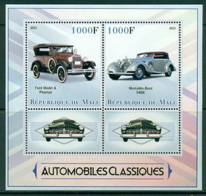Mali 2013 Miniature Sheet Classic Cars 2 Values + 2 Labels