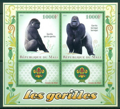 Mali 2013 Miniature Sheet Gorillas 2 Values + 2 Labels