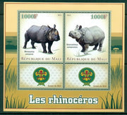 Mali 2013 Miniature Sheet Rhinos 2 Values + 2 Labels
