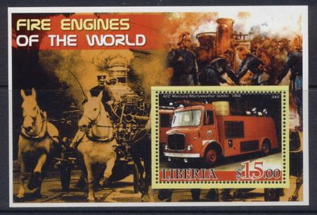 Liberia 2005 fire engines of the world souvenir sheet #3