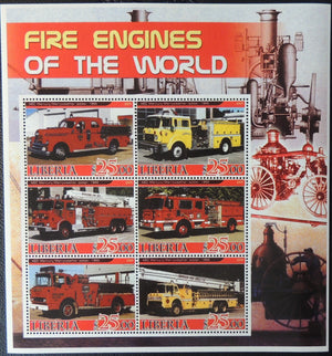 Liberia 2005 fire engines of the world miniature sheet 6 values