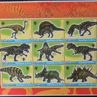 Benin 2005 dinosaurs miniature sheet 9 values
